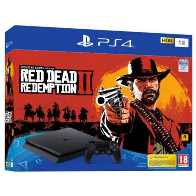 CONSOLE PS4 1To SLIM E BLACK + RED DEAD REDEMPTION 2 - PS4