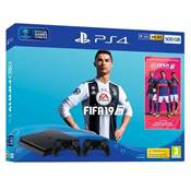 CONSOLE PS4 500GO SLIM F + FIFA 19 2EME DS4 + 14J - PS4