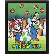 SUPER MARIO CADRE 3D LENTICULAIRE WORLD MARIO AND LUIGI