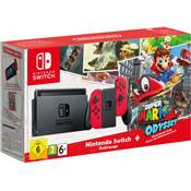 CONSOLE SWITCH + 2 JC ROUGE NEON + SUPER MARIO ODISSEY - SWITCH
